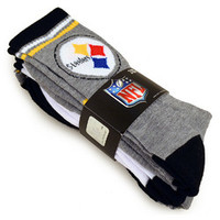 NFL Pittsburgh Steelers Crew Socks [3 Pairs]