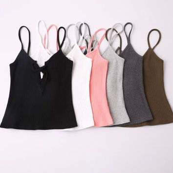 Trendy Casual Lace Tie Stylish Tank Top