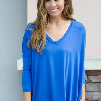 PIKO 3/4 Sleeve V-Neck Top - Blue
