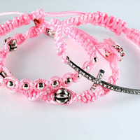 Pink Macrame Bracelets, Set of Three, Friendship Bracelets, Stackable Bracelets