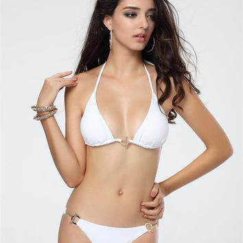 White Halter Push Up Triangle Bikini