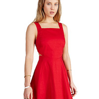Red Square Neck Sleeveless Side Cut-Out A-Line Mini Skater Dress