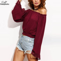 2016 Fashion Women Tops Sexy Off Shoulder Blouses Cropped Top Flare Sleeve Slash Neck Women Blouses Shirts Summer Ladies Tops 63