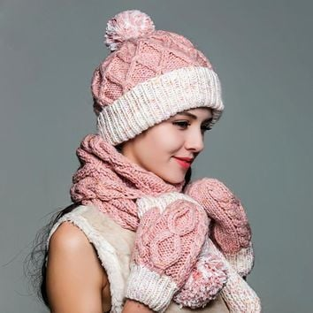 Fashion Three-Piece Sets Hats Scarf Gloves Pure Hand Woven Warm Fleece Liner Winter Knitted Hat Casual Elegant Beanies 8906