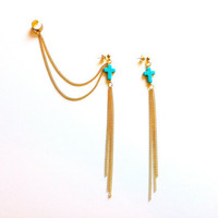 Pair of Gold Chain Turquoise Ear Cuff
