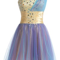 Sunvary One Shoulder Tulle Homecoming Party Dresses Sweety 16 Pageant Gown Short
