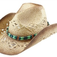 Womens Straw Cowboy Hat Blue and Green Beaded Hat Band One Size- Brown