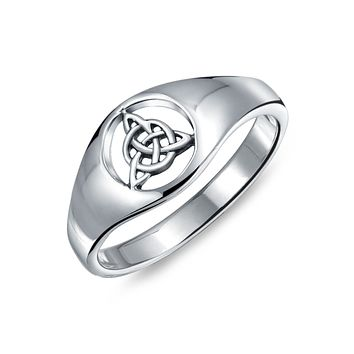 Celtic Trinity Knot Triquetra Ring Signet Ring 925 Sterling Silver