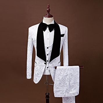 Shawl Lapel Slim Fit Groom Tuxedos Red/White/Black Men Suits Latest Coat Pant Designs Men Wedding Tuxedos For Men