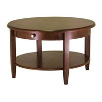 Circular Wood Coffee Table with Bottom Shelf & Drawer