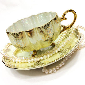 Yellow & Gold Lusterware Tea Cup, Royal Halsey Footed Tea Cup, Lacy Gold Chintz, Mid Century, Shabby Chic Decor, Vintage Tea Cup
