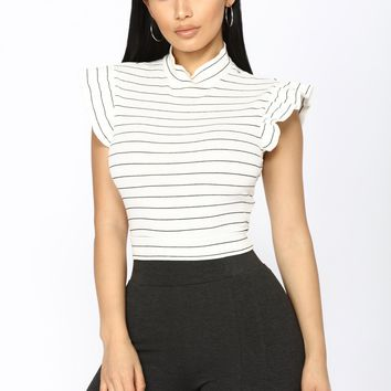 It's The Stripes That Matter Top - White/Black
