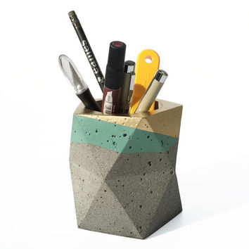Geometric Concrete Pencil Holder // Pencil Cup // Desk Organizer (Gold & Sage)