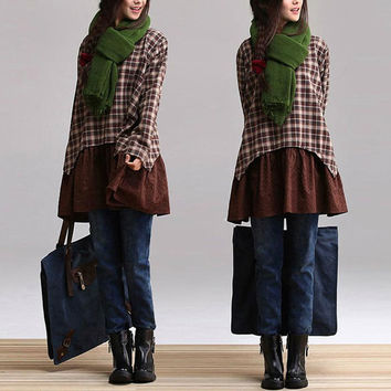 Brown plaid patchwork fake two shirt / cotton plaid long section Casual Shirts