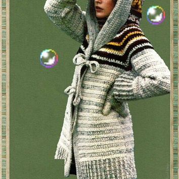 CROCHET PATTERN Vintage 70's Crochet Hooded Sweater - Coat & Mittens sweater set cardigan jacket Instant Download PDF crochet patterns vtg