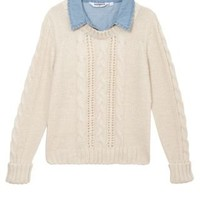 New Look Mobile | Teens Cream 2 in 1 Denim and Cable Knit Jumper