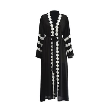 Lacy Outwear Chiffon Dress Dubai Kaftan Muslim Gown with Waist Belt Middle Eastern Maxi Robe for Women Girls
