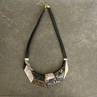 Geometric Crescent Necklace Metal Dressed in Vintage Lace Gold White Black Moon Rustic Shabby Abstract