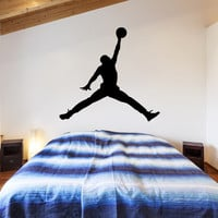 Michael Jordan Jumpman Silhouette Wall Decal Basketball Wall Art Decals