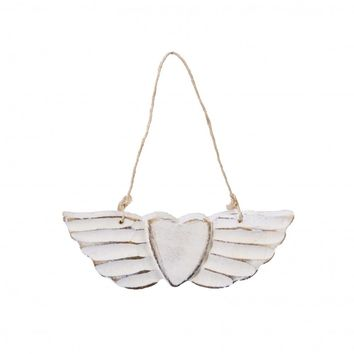 White Wooden Rustic Heart Angel Wings Ornament