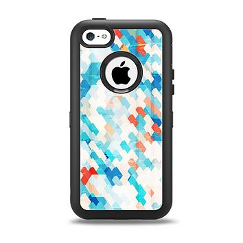 The Modern Abstract Blue Tiled Apple iPhone 5c Otterbox Defender Case Skin Set