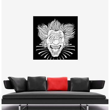 Wall Decal Crazy Clown Evil Head Killer Horror Laugh Vinyl Sticker Unique Gift (ed571)