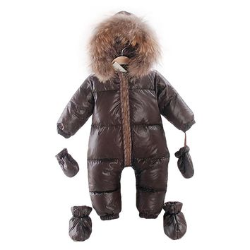 2017 russian winter natural fur rompers baby boy clothes newborn down jumpsuit infant thick warm outerwear bebes girls snowsuits