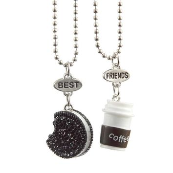 New Fashion Trendy Coffee Cup Black Cookie BEST FRIENDS Pendant Necklace Rectangle Pendant For  Best Friends  Gifts