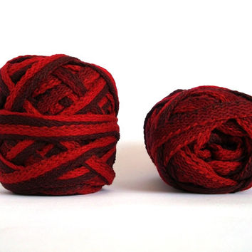 ON SALE Cotton Yarn, Ruffle Yarn, Art Yarn, Crochet Yarn, Knitting Yarn, Frills, in Red Shades & Maroon, 1 skein 50 gr