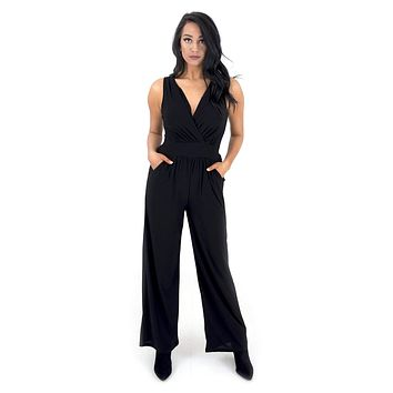 Women's Sleeveless Surplice Jumpsuit