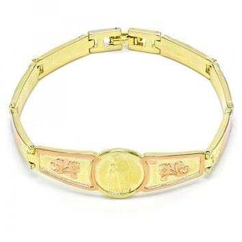Gold Layered 03.26.0045.08 ID Bracelet, Guadalupe and Flower Design, Polished Finish, Tri Tone
