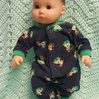 "Baby doll clothes ""Football Monkeys"" (15 inch) doll outfit Will fit Bitty Baby® Cabbage Patch® boy fleece sleeper K7"
