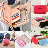 Women Fashion Large Capacity Zipper  Wallet  Cute Bowknot Pocket Long Purse Phone Card Holder Clutch Party Handbags Mini Purse
