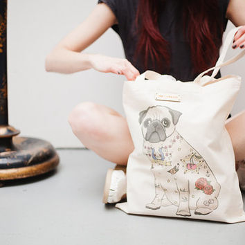 Tattoo Pug Printed Tote Bag
