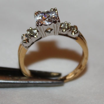 Vintage Engagement  Ring CZ 14kt HGE  1960s Jewelry
