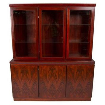 Pre-owned Rosewood Danish Modern 2-Piece Lighted Credenza