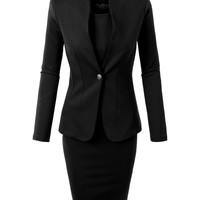 LE3NO Womens Office Work Blazer and Sleeveless Midi Dress Suit Set Made in USA