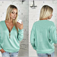 Plain Zipper-Up Sweater