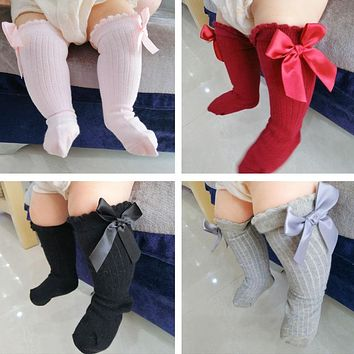 2018 New Kids Toddlers Girls Big Bow Knee High Long Soft Cotton Lace Baby Socks Kids socks kids socks meias #25