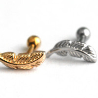 Surgical Steel Feather Labret, 16g labret with ball closure, 3mm tragus piercing, gold feather labret, Cartilage, Helix, Ball Closure Tragus