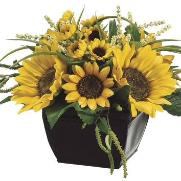 Lifelike Sunflower Floral Arrangement in Decorative Square Container