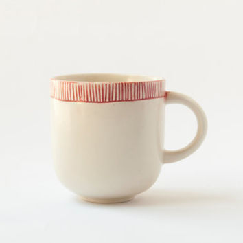 Handmade Ceramic mug with red design H: 3″ / Coffee mug / Tea mug / Stoneware mug