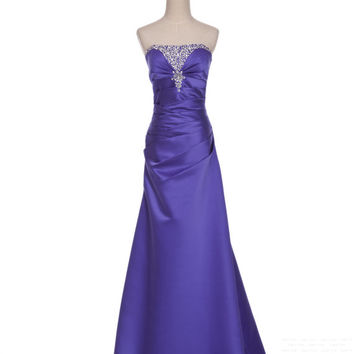 Custom A-line Strapless Sleeveless Floor-length Taffeta Beading Long Prom Dress Bridesmaid Dress Formal Evening Dress Party Dress 2013