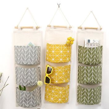 Cotton Linen Door Wall Hanging Organizer Bag Hanging Pocket Holder Storage Bag Sundry Underwear Makeup Organizer