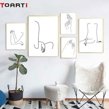 Lady Body Line Drawing Abstract Poster&Prints Modern Canvas Painting Modular Wall Picture For Girls Bedroom Wall Art Home Decor