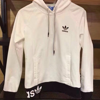 "Fashion ""Adidas"" Print Hooded Pullover Tops Sweater Sweatshirts White Black"