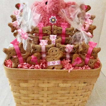 Dog biscuit treat dog gift basket with pink elephant squeak  toy, unique, personalized, dog birthday gift, dog get well gift, new puppy gift