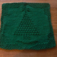 Hand Knit Holiday Tree All Cotton Picture Dishcloth or Washcloth