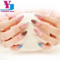 12 Designs False Nails With Glue Long French Nail Art Tips Acrylic Full Shining Stiletto Nails Tips Fashion Style 24pcs/ Pack