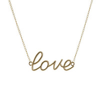 Love Script Pendant Necklace | Shop Junior Clothing at Wet Seal